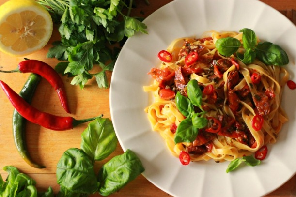 What's for lunch? A vibrant chorizo pasta